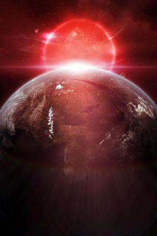 地球红色日出
