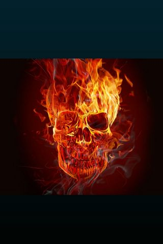 Fire Skull - Lock Screen - IP4