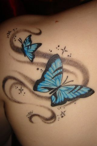 Blue Butterfly Tattoo por KarateKid89