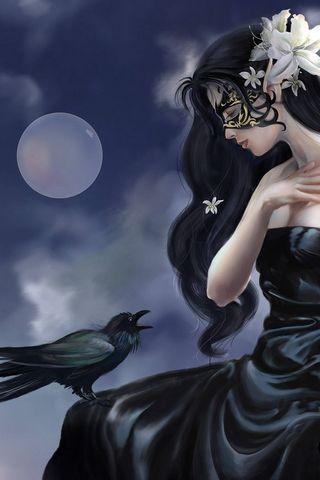 Girl And Raven