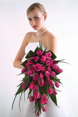 Pink Roses And Tulips Bridal Bouquet