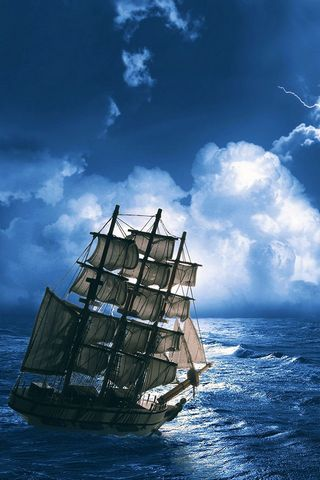 Sailing Ship In Storm