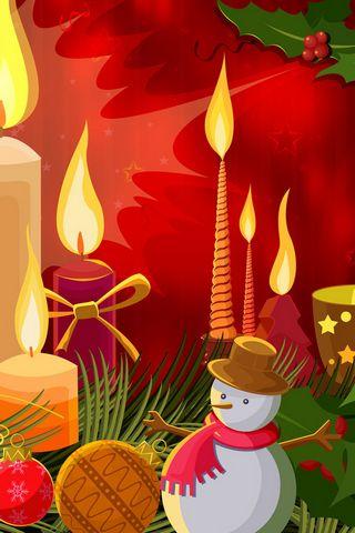 Свечи и Снеговик