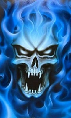 Blue Fire Skull Wallpaper Download To Your Mobile From Phoneky