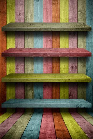 Wooden Rainbow Shelf