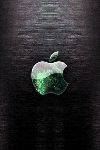 Black Wood - Abstract Green Apple