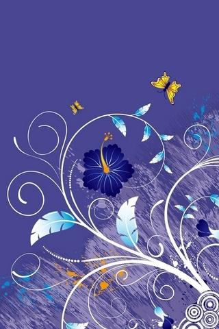 Vector Purple Leaves Flowers