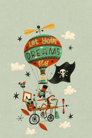 Let Your Dreams Fly High Vintage Funny Balloon Bicycle Poster