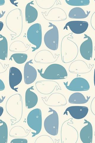 Vintage Whale Funny Doodle Drawing Pattern