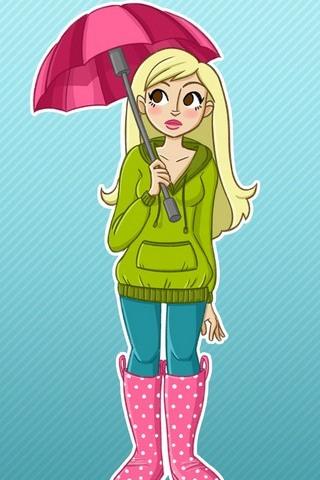 Stays Pink Flower Umbrella Girls