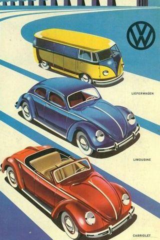 Volkswagen Vintage Cartoon Funny Poster