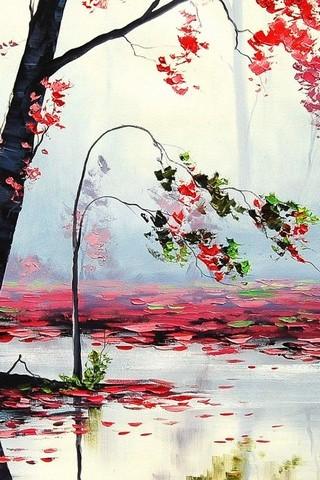 Art Autumn Trees River