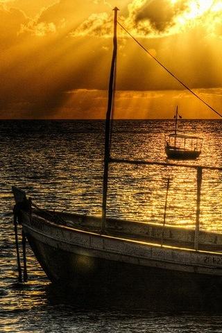 Old Ship At Sunset