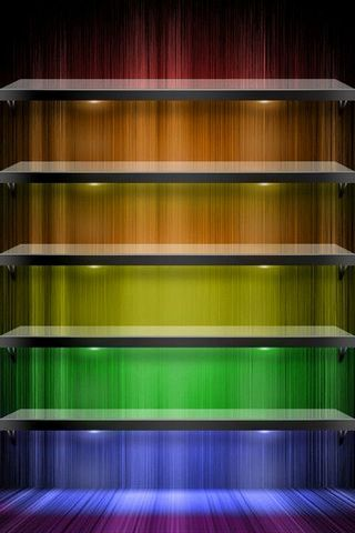 Colour Lights Shelves Wallpaper