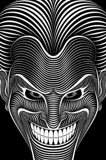 The Joker Black And White Abstract