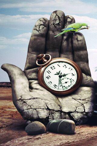 Parrot Hand Clock