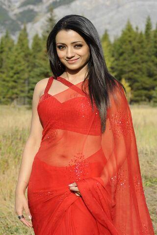 Trisha In Red Saree