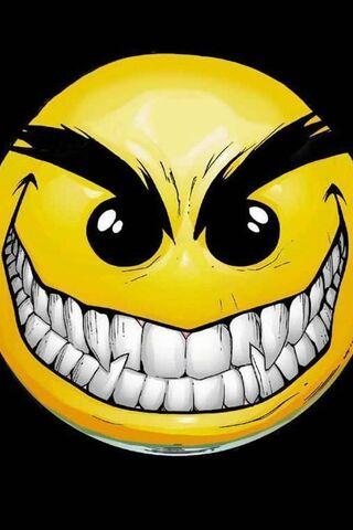 Visage souriant maléfique