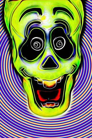 Green Trippy Skull
