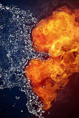 النار والقلب المياه