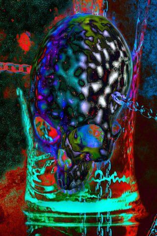 Przykuty neonową czaszką