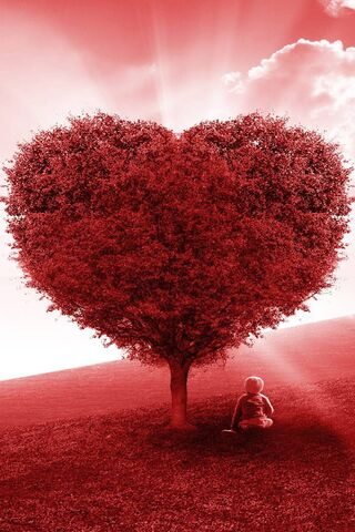 Red Love Heart Tree