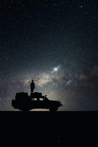 Stars Sky Space Car