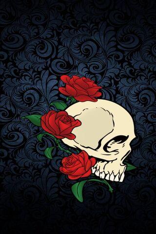 Blue Flowers Skull