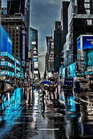 Blue City Rain Night