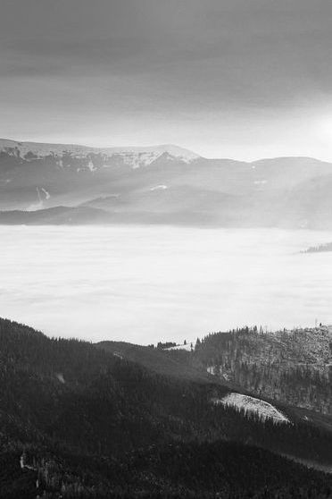 Sunrise Winter Black White