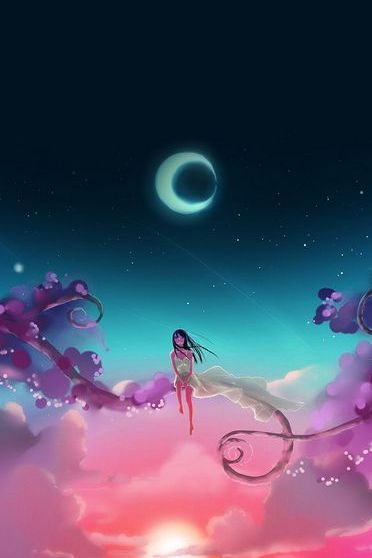 Anime Girl Moon Dream