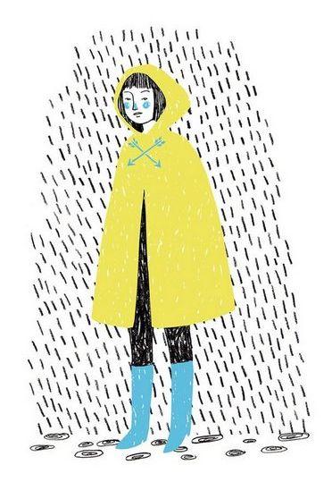 Dziewczyna płaszcz przeciwdeszczowy