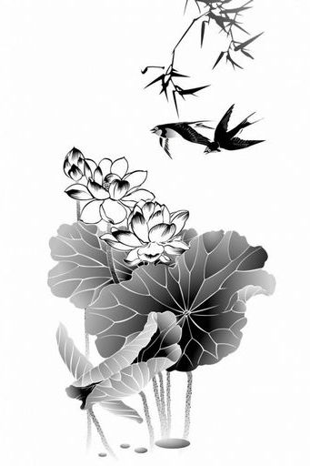 Black Ink Lotus China Painting Art