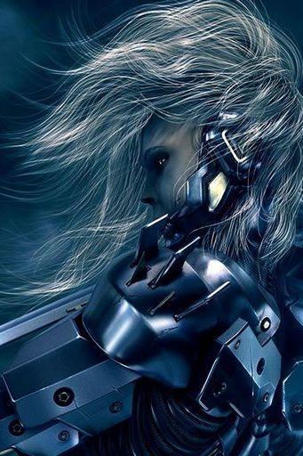 Chrome White Hair Armor Sword Anime