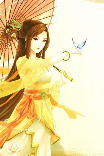 Japanese Girl Anime Brown Hair With Umbrella