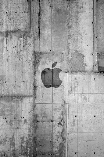 Apple 로고 콘크리트 벽