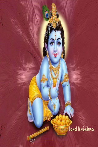 Red Background Krishna