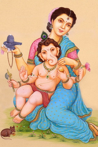 Parvati & Thiên Chúa Ganesha