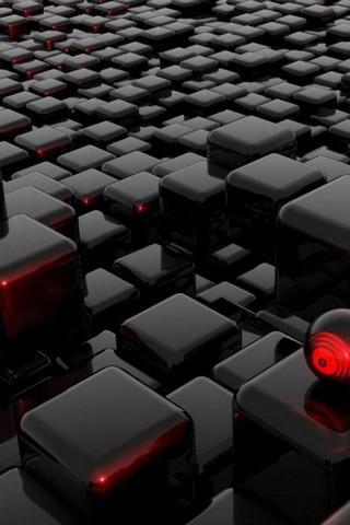 Black Red Futuristic Cubes