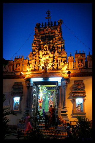 Hindu Temple At Night