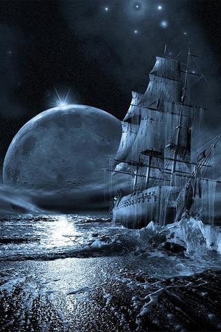 Bateau et lune