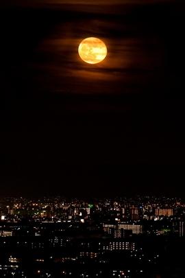 City Lights Full Moon