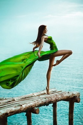 Dancing Girl And Lake