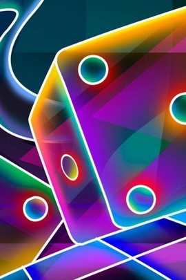 3D Cube Dice Neon
