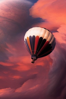 Fantasy Hot Air Balloon Clouds And Planet