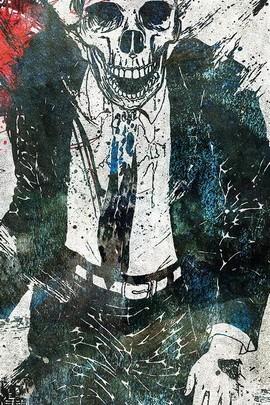 मुस्कुराते हुए खोपड़ी में सूट