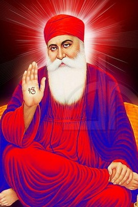 Guru Nanak Dev Ji In Red Dress
