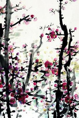 Pink Flower Ink Painting Art