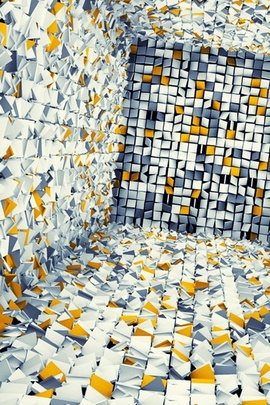 White Gray And Yellow 3D Tiles
