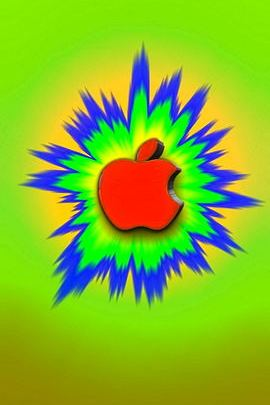 Cartoon Burst Red Apple